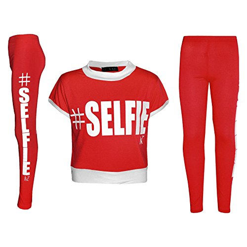 6 Set Legging T 9 Shirt anni Designer Fashion 12 Printed Età 8 Kids Girls selfie Crop 7 A2z 10 Kids 4 Rosso 5 11 Top 13 WSwOqHx7az