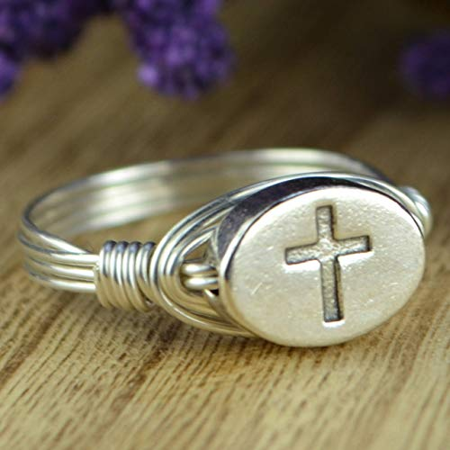 Sterling Silver Cross Bead and Sterling Silver or Gold Filled Wire Wrapped Ring- Custom made to size 4-14