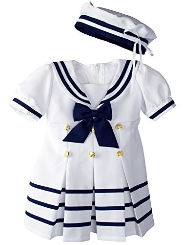 WonderfulDress Baby Toddler Girls Nautical Sailor Dress with Hat (4T, White)