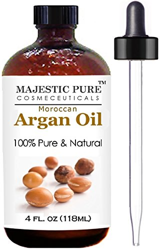 Moroccan Argan Oil for Hair and Skin From Majestic Pure, 100% Natural, Organic, Cold Pressed & Triple Extra Virgin, 4 Oz, Experience the Grade 1 Argan Oil Now!