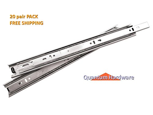16 Inch 75 Lb Full Extension Ball Bearing Drawer Slides 20 Pair Pack by Quantum Hardware (Image #5)
