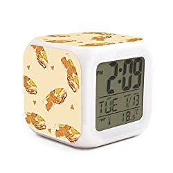 Cute Multifunction Desk Alarm Clock Akita Dog Triangles Digital Alarm Clock with Nightlight 7 Color Changing Light Bedside Clock for Bedroom.Sleep Timer with Thermometer,Touch Control and Snoozing
