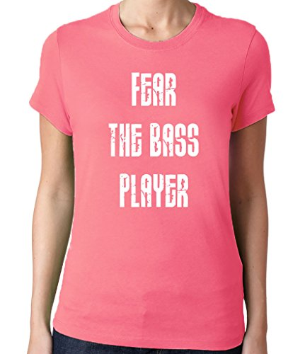 Women's Fear the Bass Player T-Shirt Fitted Small Hot Pink