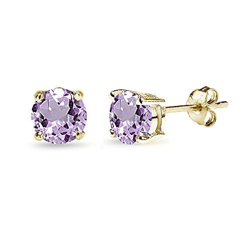 Yellow Gold Flashed Sterling Silver 6mm Round-Cut Solitaire Stud Earrings, Choice of 12 Colors