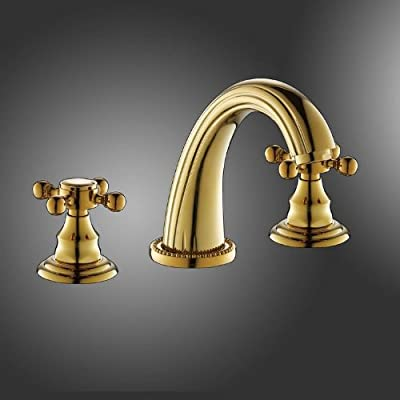 Luxury 3-piece Dual Cross Handles Widespread Bathroom Sink Mixer Tap Polished Brass Bathroom Basin Vessel Faucet