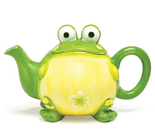 Adorable Toby the Toad/Frog Teapot For Kitchen Decor, Green, 32 - Ceramic Burton Teapot