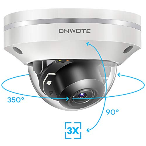 ONWOTE 5MP 2592 1944P HD PTZ PoE IP Security Camera Outdoor Dome, 350° Pan 90° Tilt 3X Optical Zoom Autofocus, 2.8-8mm Motorized Lens, IP66 Waterproof, 5 Megapixels Super HD Onvif Ethernet Camera