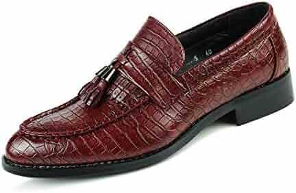 US HONGkeke Mens Fashion Oxfords Casual Tassel Decor Soft Sole Block Heel Formal Wedding Dress Shoes Durable Color : Black, Size : 9.5 D M