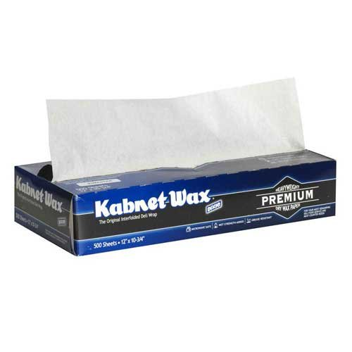 Dixie Master Kabnet Wax White Interfolded Dry Wax Deli Paper, 12 x 10 3/4 inch - 6000 per case.