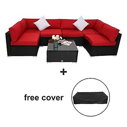 Pleasing Amazon Com Kinbor 7 Pcs Outdoor Patio Wicker Furniture Pdpeps Interior Chair Design Pdpepsorg