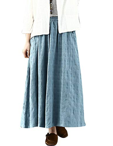 - PUWEI Women's Vintage Embroidered Jacquard Cotton Linen Swing Maxi Skirts(Blue-One Size)