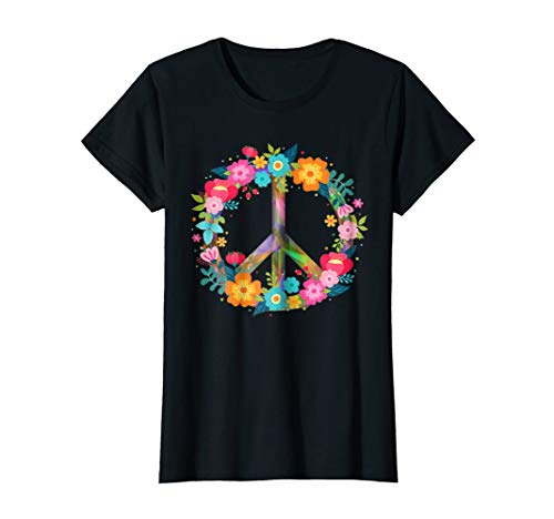 Womens Peace Love T-Shirt Hippie Costume Tie Die 60s 70s -
