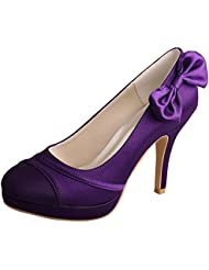 Wedopus MW783 Women's Closed Toe High Heels Platform Purple Satin Bridal Wedding Shoes