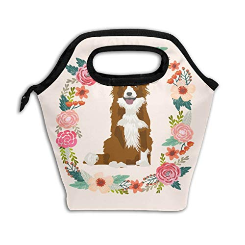 Border Collie Red Merle Wreath Florals Dog Lunch Bag Insulated Lunch Box Reusable Lunch Tote Cooler Organizer Bag Lunch Bags for Women,Men and Kids Adults