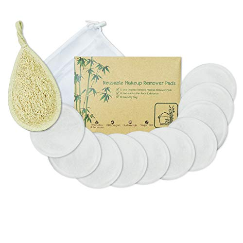 Reusable Cotton Pads Face | Pack 14 include Natural Loofah Face Scrubber Exfoliator Sponge & 12 pcs Washable Makeup Remover & Laundry Bag | Skincare Cleaning Bamboo Cloth Rounds Facial Wipes Eye