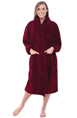 Alexander Del Rossa Women's Plush Fleece Robe, Warm Shaggy Bathrobe, Small Medium Burgundy (A0302BRGMD)
