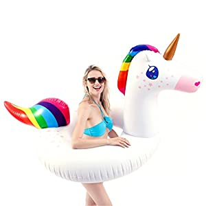 JOYIN Gorgeous Inflatable Unicorn Tube, Pool Float, Fun Beach Floaties, Swim Party Toys, Summer Pool Raft Lounge for…
