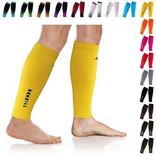 Mmhg Sleeve - NEWZILL Compression Calf Sleeves (20-30mmHg) for Men & Women - Perfect Option to Our Compression Socks - for Running, Shin Splint, Medical, Travel, Nursing, Cycling (S/M, Solid Yellow)