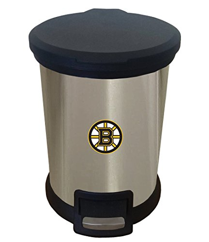 Bruins Wastebasket - The Furniture Cove New 1.3 Gallon Round Stainless Steel Step Trash Can Waste Basket Featuring Your Choice of a Sports Team Logo! (Bruins)