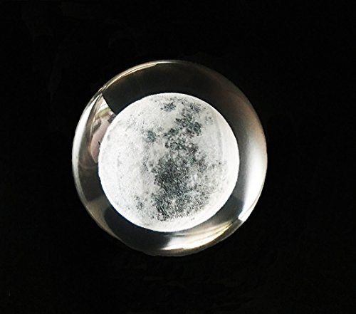(Waltz&F 60mm Inner Carving Moon Crystal Ball Paperweight with Stand,Fengshui Crystal Ball Home Decoration Ornament Props)
