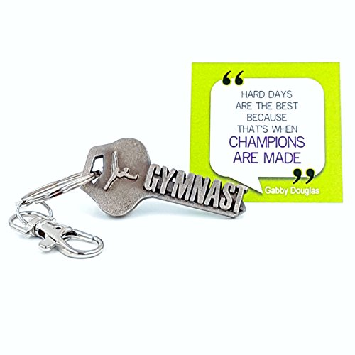 key2Bme GYMNAST key - gymnastics keychain & inspirational quote - the cute cool fun unique small gymnastic team gift under $10 for giving kids teens friends girls boys coach beam bars vault (Trend Beam)