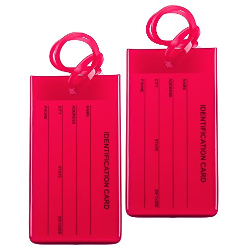 2 Packs Colorful Flexible Travel Luggage Tags for Baggage Bags/Suitcases - Name ID Labels Set for Travel - Red