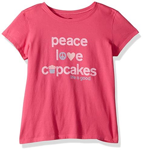Life is Good Girls Crusher Graphic T-Shirts Collection,Peace Love,Fiesta Pink,X-Large