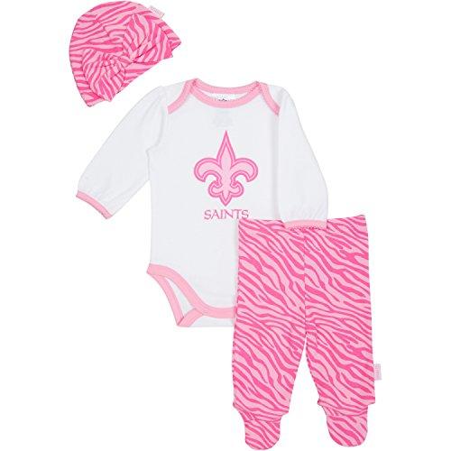 NFL Saints Baby Pink Onesie, Footed Pant & Cap