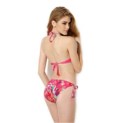 ELSA & ANNA® Mejor Calidad Último Estilo Señoras Mujer Cabestro Bandeau 2 Piezas Bikinis Conjuntos Trajes de baño Natación Disfraz Monokini ES-SWM-RED402 SWM-RED402