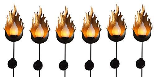70 Inch Metal Solar Flickering Flame Torches - Fuego - 6 Torch Set - Dancing