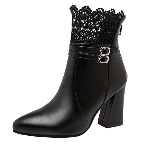 Boots Large Women SJJH Lace Women for with Parties Black Ankle Sexy Size and Boots Heel Chunky xFxwzn4