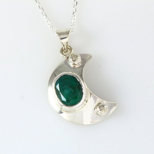 Emerald Circle Pendant - Sterling Silver Crescent Moon with Genuine Emerald May Birthstone Heart Chakra Pendant 16+2'' Chain