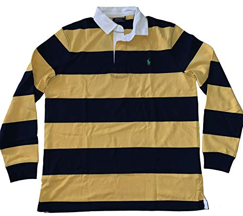 Polo Ralph Lauren Men's Classic Fit Long Sleeve Rugby Long Sleeve Polo Shirt (Yellow Multi, Large)