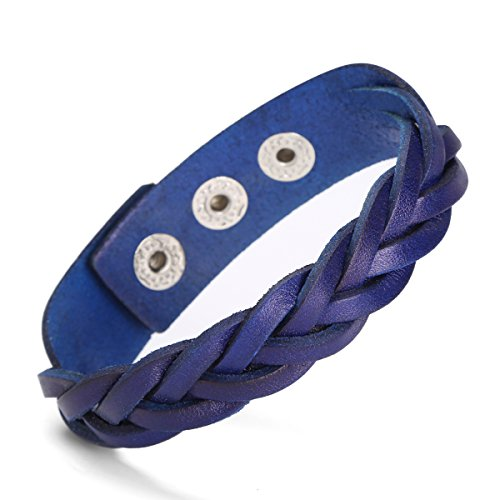 Ailianer Leather Bracelet Black Brown Tone Braided Wide Wristband Women Men Punk Jewelry With Gift Box (Blue)
