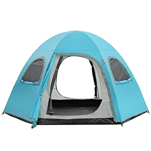 Pop Up Tent for 4 to 6 Person,Automatic Hexangular Hydraulic Double Layer Tent Unisex Outdoor Waterproof