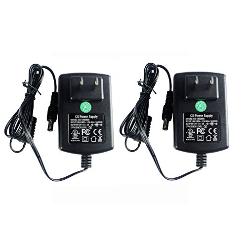 (2 Packs AC Adapter DC 12V 2A Power Supply 5.5x2.1mm for CCTV Cameras DVR Strip LED UL Listed FCC)