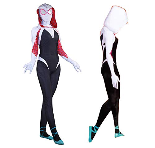 Unisex Lycra Spandex Zentai Halloween Cosplay Costumes Adult/Kids 3D Style (Kids-XS White and Black]()