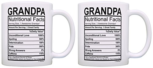 Birthday Gifts for Grandpa Nutritional Facts Label Gift Ideas for Grandpa 2 Pack Gift Coffee Mugs Tea Cups White
