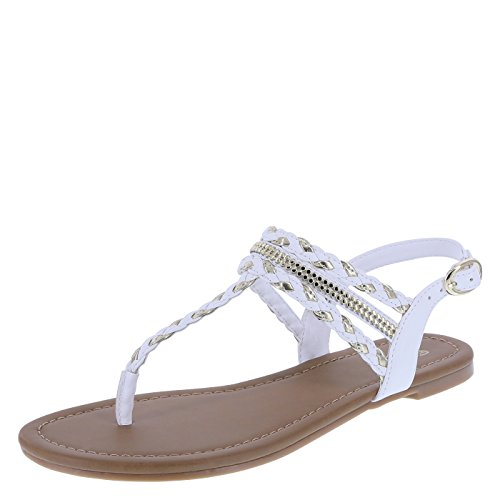 Brash Women's White Women's Mara Embellished Flat Sling 8 Regular
