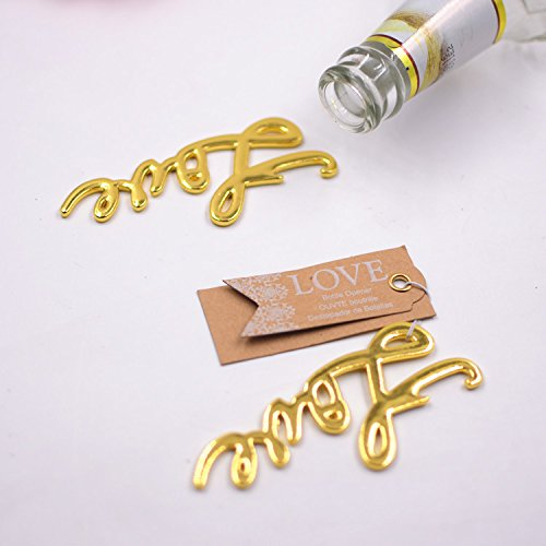 50 pcs Gold Bottle Openers Wedding Favors Decorations, Kraft Paper Label Card Tag, Love Shaped, Party Supplies by IBWell (Image #3)
