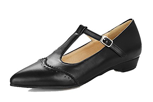 Closed Pumps Solid Low WeiPoot Heels Black PU Toe Shoes Buckle Women's qx88pEB