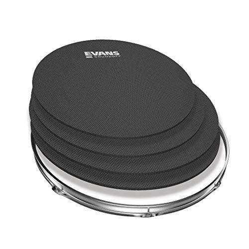 SoundOff by Evans Drum Mute Pak (4pc) - Provides 95% Volume Reduction Without Drastically Altering Drums' Feel - Quietly Practice Directly on Drum Sets - For Standard-Sized Kits 12, 13, 14 (Snare), 16 ()