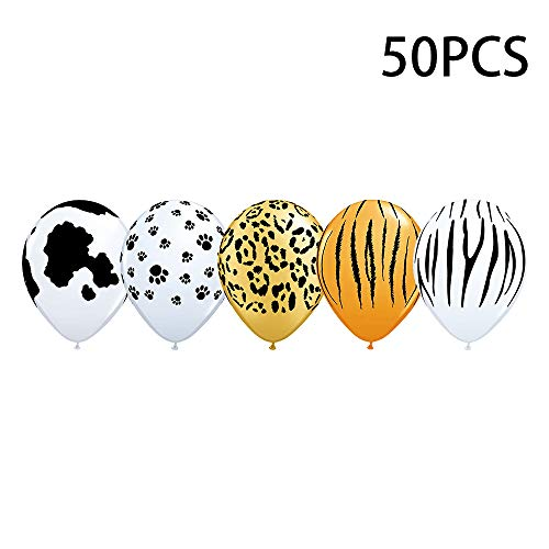 50PCS 12Inch Cute Animal Jungle Animal Print Safari Balloons for Kids Birthday Decorations Baby Shower Birthday. -