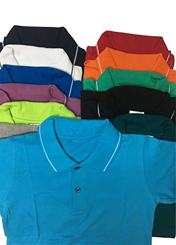 3 Shirts Pack (Solid Color Pique Polo Golf Shirts 100% Cotton Assorted Color Pack (Medium, 3)