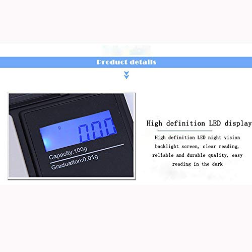 Iskylie Electronic Smart Scale 100g/0.01g LCD Digital Pocket Scale Jewelry Gold Gram Balance Weight Scale (C) by Iskylie (Image #4)