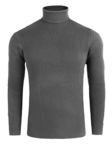 (FISOUL Mens Casual Basic Ribbed Slim Fit Knitted Pullover Turtleneck Thermal Sweater)