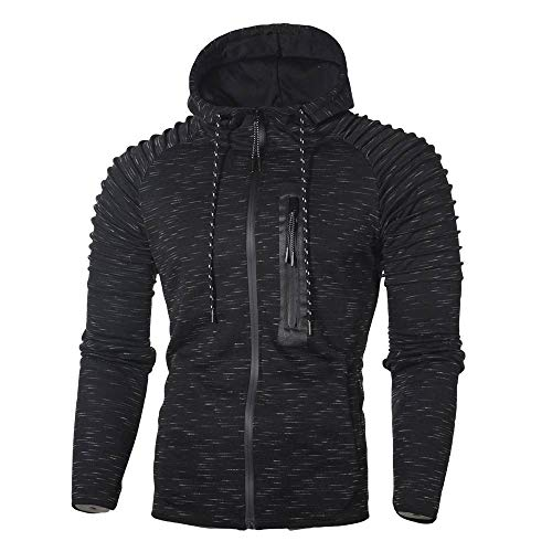 QBQCBB Mens Speckled Hooded Sweatshirt Folds Zipper Pullover Long Sleeve Shirt(Black,XL