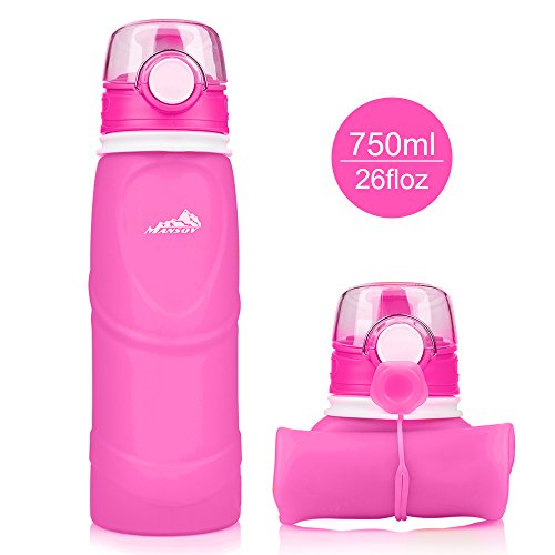 Mansov Water Bottle Silicone Leak Proof Collapsible Sports Water Bottle 26floz BPA Free Drinking Water Kettle for Outdoor Hiking Camping Running Traveling Rose