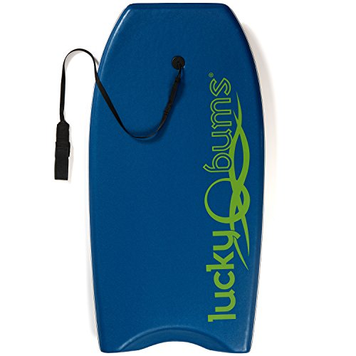 Lucky Bums Body Board with EPS Core Slick Bottom and Leash for Kids and Adults, Blue, 37-inch