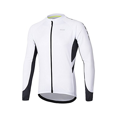ARSUXEO Men's Full Zipper Long Sleeves Cycling Jersey Bicycle MTB Bike Shirt 6030 White Size S